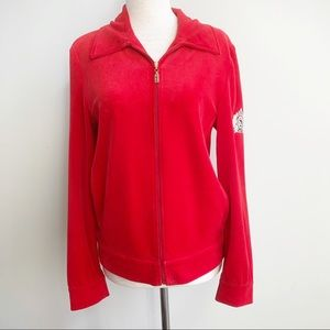 St. John Sport Red Zip Up Jacket with Patch